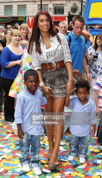 Emile Heskey's wife Chantelle Tagoe and their children arrive at the UK premiere of 'Toy Story 3' at Odeon Leicester Square on July 18 2010 in London...