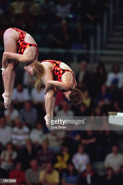 Emile Heymans and Anne Montminy of Canada perform in the Women's Synchronize 10m Final during the Sydney 2000 Olympic Games on September 282000 at...
