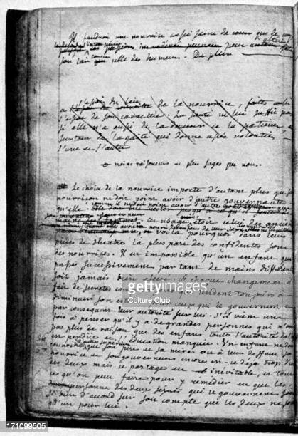 L'Emile manuscript of novel by JeanJacques Rousseau showing author's corrections 28 June 1712 2 July 1778