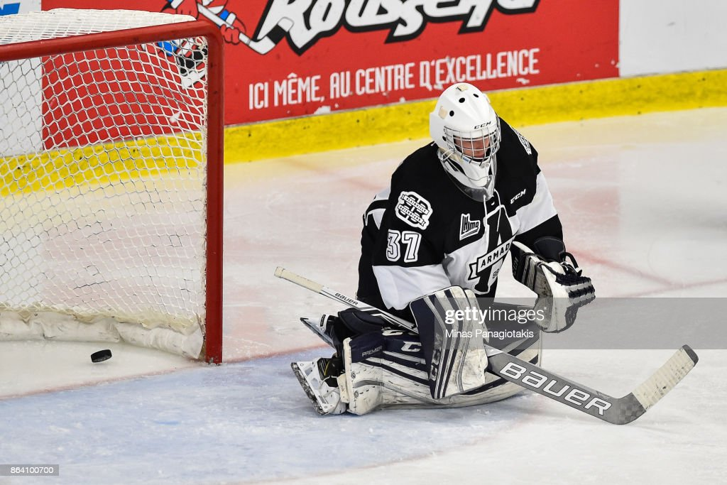 Emile Samson #37 of the Blainville-Boisbriand Armada allows a goal in the third period against the Halifax Mooseheads during the QMJHL game at Centre d'Excellence Sports Rousseau on October 20, 2017 in Boisbriand, Quebec, Canada. The Halifax Mooseheads defeated the Blainville-Boisbriand Armada 4-2.