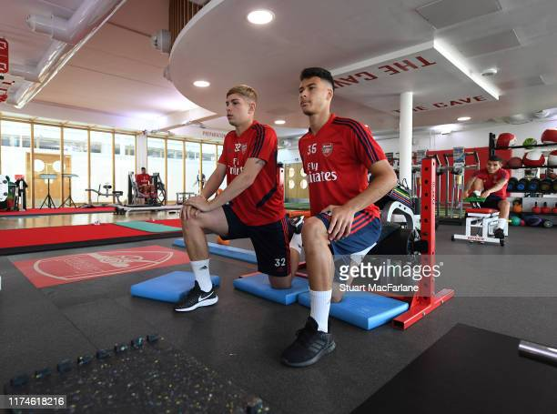 Emile Smith Rowe and Gabriel Martinelli of Arsenal during a training session at London Colney on September 14 2019 in St Albans England