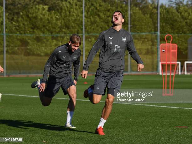 Emile Smith Rowe and Granit Xhaka of Arsenal during a training session at London Colney on September 25 2018 in St Albans England