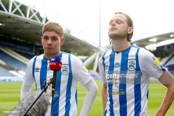 Emile Smith Rowe and Richard Stearman of Huddersfield Town give an interview after the Sky Bet Championship match between Huddersfield Town and West...