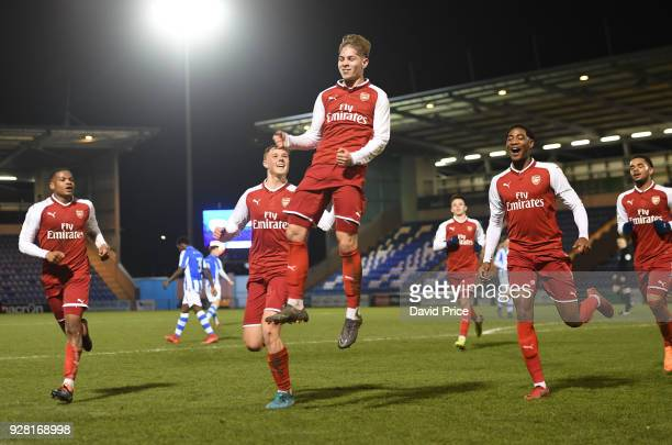 Emile Smith Rowe celebrates scoring a goal for Arsenal during the FA Youth Cup match between Colchester United and Arsenal at Weston Homes Community...