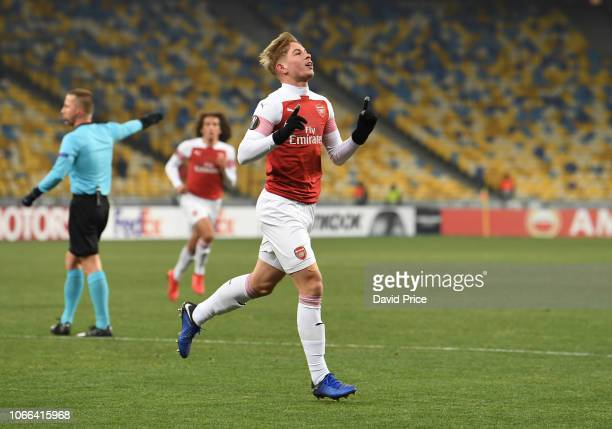 Emile Smith Rowe celebrates scoring Arsenal's 1st goal during the UEFA Europa League Group E match between Vorskla Poltava and Arsenal at Oleksiy...
