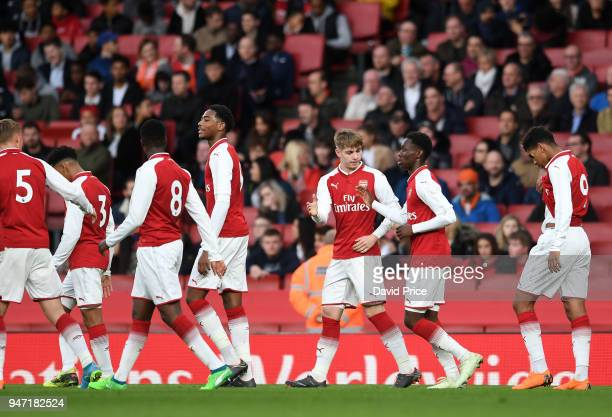 Emile Smith Rowe celebrates scoring Arsenal's 4th goal from the penalty spot during the match between Arsenal and Blackpool at Emirates Stadium on...