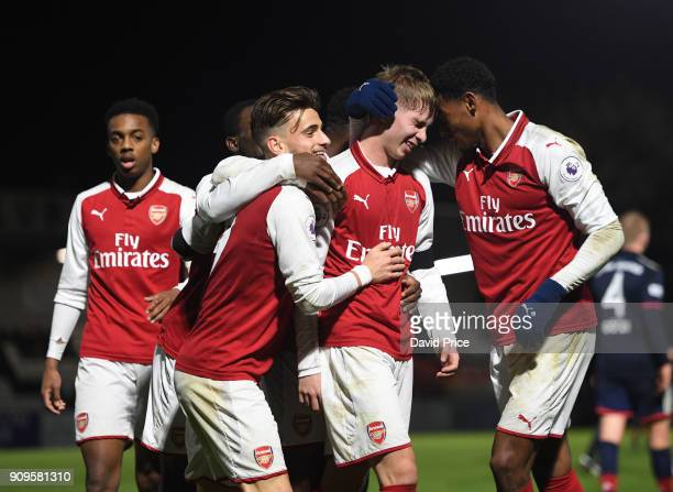 Emile Smith Rowe celebrates scoring Arsenal's 5th goal with Vlad Dragomir and Jeff ReineAdelaide during the Premier League International Cup Match...