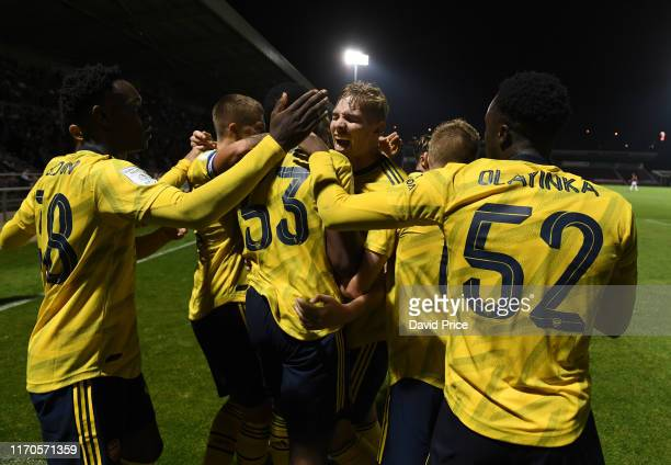 Emile Smith Rowe celebrates the Arsenal goal scored by James Olayinka during the Leasingcom match between Northampton Town and Arsenal U21 at PTS...