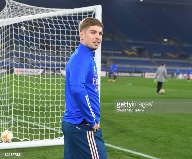 Emile Smith Rowe of Arsenal before the UEFA Europa League Round of 32 match between SL Benfica and Arsenal FC at Stadio Olimpico on February 18, 2021...