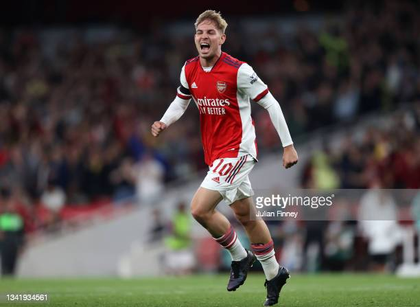 Emile Smith Rowe of Arsenal celebrates after scoring their team's second goal during the Carabao Cup Third Round match between Arsenal and AFC...