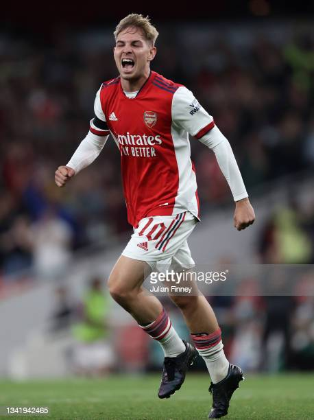 Emile Smith Rowe of Arsenal celebrates scoring during the Carabao Cup Third Round match between Arsenal and AFC Wimbledon at Emirates Stadium on...