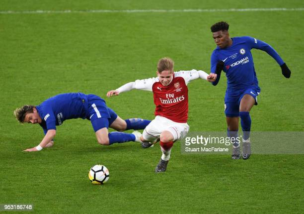 Emile Smith Rowe of Arsenal challenged by Conor Gallagher and Dujon Sterling of Chelsea during the FA Youth Cup Final 2nd Leg between Arsenal and...
