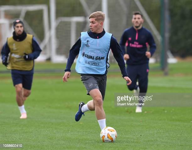 Emile Smith Rowe of Arsenal during a training session at London Colney on November 7 2018 in St Albans United Kingdom