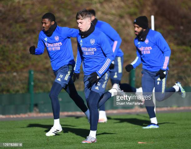 Emile Smith Rowe of Arsenal during a training session at London Colney on January 22, 2021 in St Albans, England.