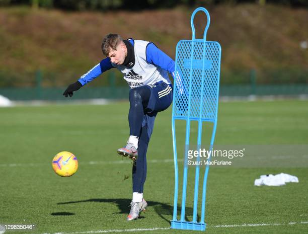 Emile Smith Rowe of Arsenal during a training session at London Colney on January 25, 2021 in St Albans, England.