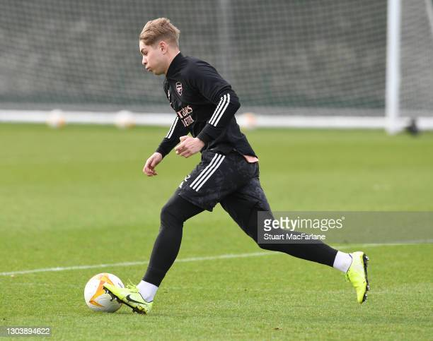 Emile Smith Rowe of Arsenal during a training session at London Colney on February 24, 2021 in St Albans, England.