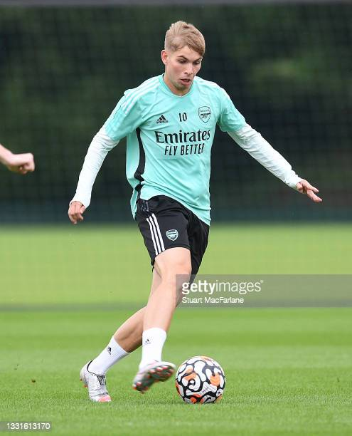 Emile Smith Rowe of Arsenal during a training session at London Colney on July 30, 2021 in St Albans, England.