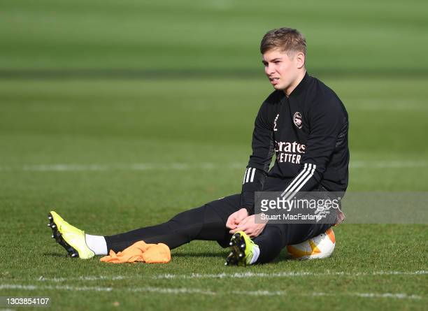 Emile Smith Rowe of Arsenal during a trining session at London Colney on February 24, 2021 in St Albans, England.