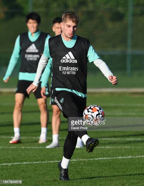 Emile Smith Rowe of Arsenal during the Arsenal 1st team training session at London Colney on October 21, 2021 in St Albans, England.
