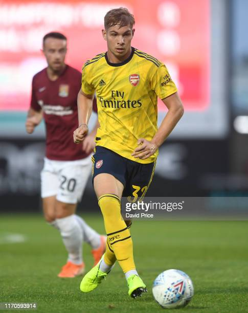 Emile Smith Rowe of Arsenal during the Leasingcom match between Northampton Town and Arsenal U21 at PTS Academy Stadium on August 27 2019 in...