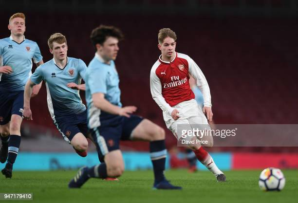 Emile Smith Rowe of Arsenal during the match between Arsenal and Blackpool at Emirates Stadium on April 16 2018 in London England