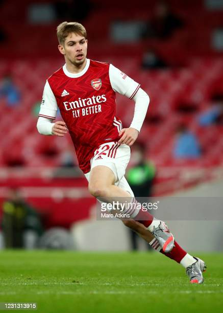 Emile Smith Rowe of Arsenal during the Premier League match between Arsenal and Manchester City at Emirates Stadium on February 21, 2021 in London,...