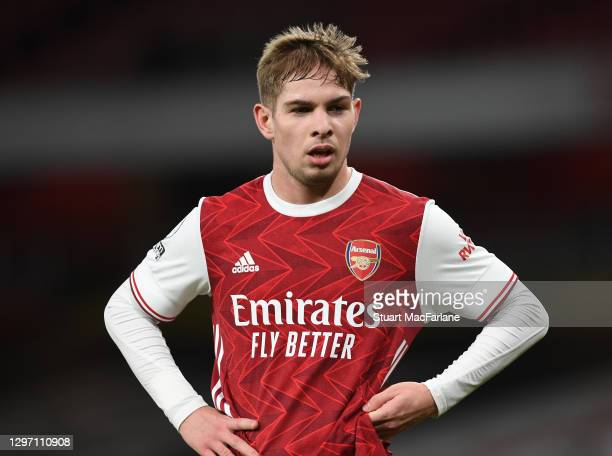 Emile Smith Rowe of Arsenal during the Premier League match between Arsenal and Newcastle United at Emirates Stadium on January 18, 2021 in London,...