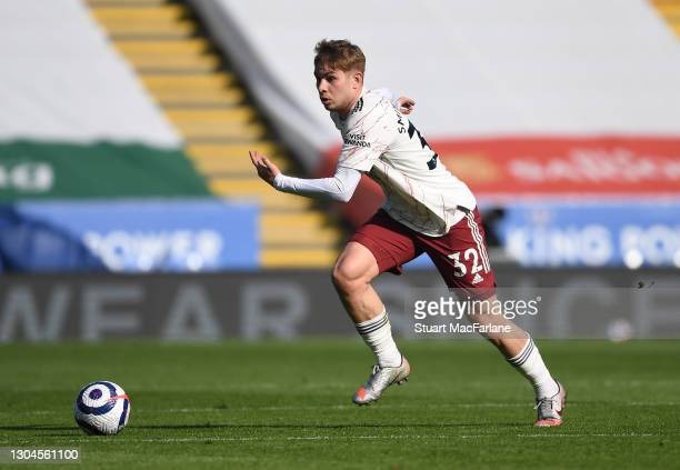 Emile Smith Rowe of Arsenal during the Premier League match between Leicester City and Arsenal at The King Power Stadium on February 28, 2021 in...