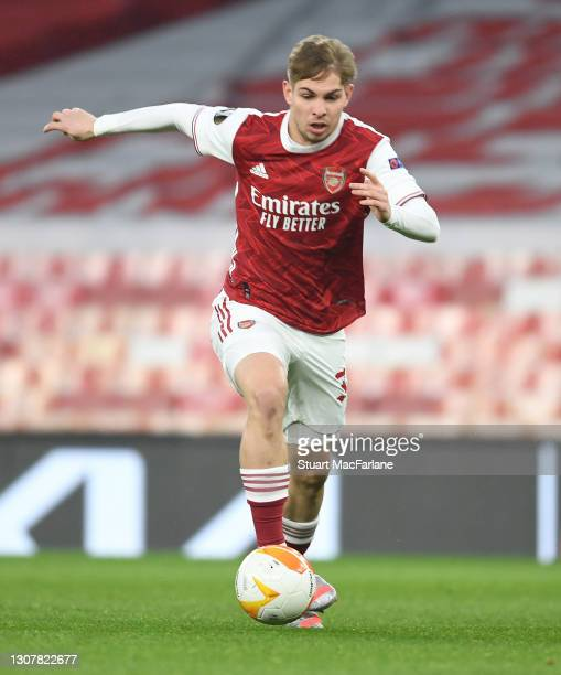 Emile Smith Rowe of Arsenal during the UEFA Europa League Round of 16 Second Leg match between Arsenal and Olympiacos at Emirates Stadium on March...