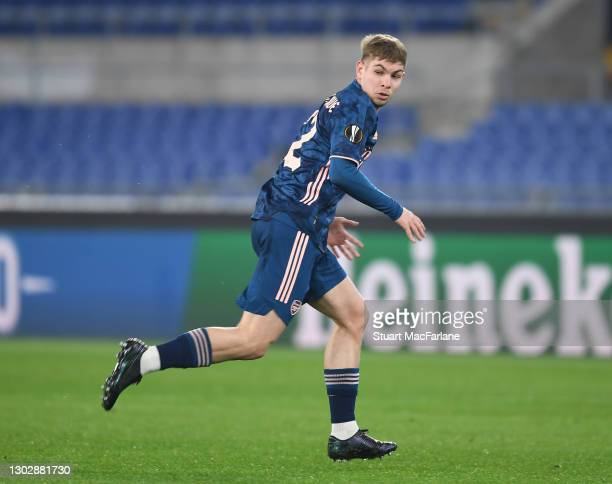 Emile Smith Rowe of Arsenal during the UEFA Europa League Round of 32 match between SL Benfica and Arsenal FC at Stadio Olimpico on February 18, 2021...