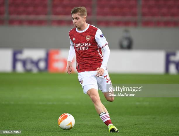 Emile Smith Rowe of Arsenal during the UEFA Europa League Round of 32 match between Arsenal FC and SL Benfica at Karaiskakis Stadium on February 25,...