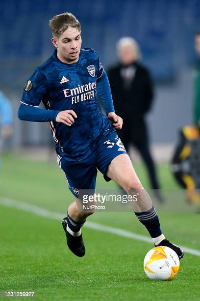 Emile Smith Rowe of Arsenal FC during the UEFA Europa League round of 32 Leg 1 match between SL Benfica and Arsenal FC at Stadio Olimpico, Rome,...