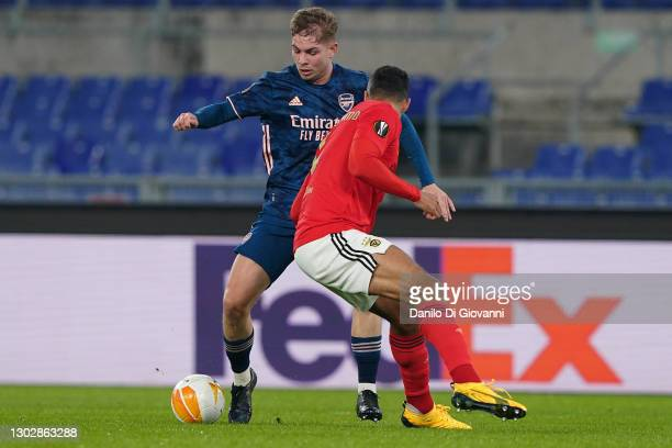 Emile Smith Rowe of Arsenal in action during the UEFA Europa League Round of 32 match between SL Benfica and Arsenal FC at Stadio Olimpico on...