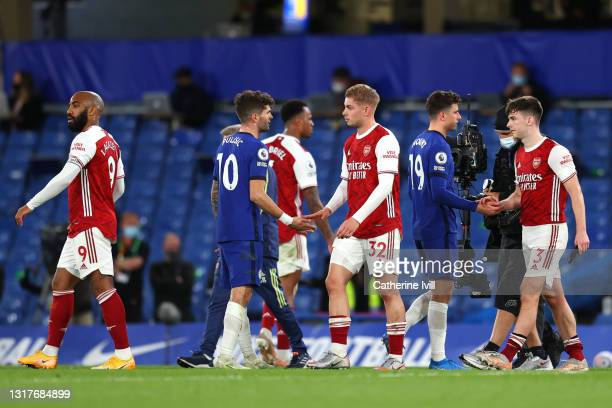 Emile Smith Rowe of Arsenal interacts with Christian Pulisic of Chelsea during the Premier League match between Chelsea and Arsenal at Stamford...