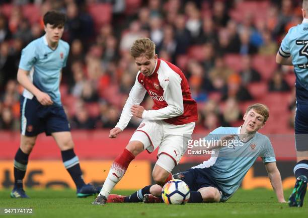 Emile Smith Rowe of Arsenal is fouled by Will Avon of Blackpool resulting in a penalty during the match between Arsenal and Blackpool at Emirates...