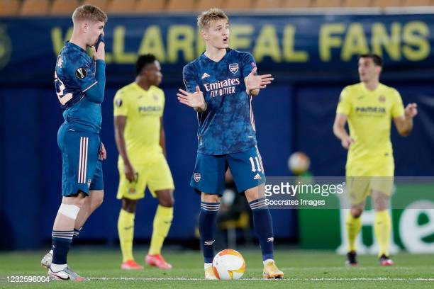 Emile Smith Rowe of Arsenal, Martin Odegaard of Arsenal during the UEFA Champions League match between Villarreal v Arsenal at the Estadio de la...