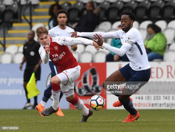Emile Smith Rowe of Arsenal takes on Christian Maghoma of Tottenham during the match between Arsenal and Tottenham Hotspur at Meadow Park on March 10...