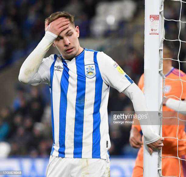 Emile Smith Rowe of Huddersfield Town dejectedly reacts during the Sky Bet Championship match between Huddersfield Town and Cardiff City at John...