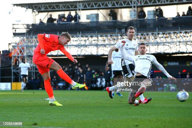 Emile Smith Rowe of Huddersfield Town during the Sky Bet Championship match between Fulham and Huddersfield Town at Craven Cottage on February 01...