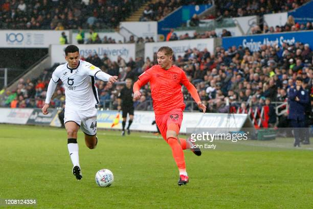 Emile Smith Rowe of Huddersfield Town during the Sky Bet Championship match between Swansea City and Huddersfield Town at Liberty Stadium on February...