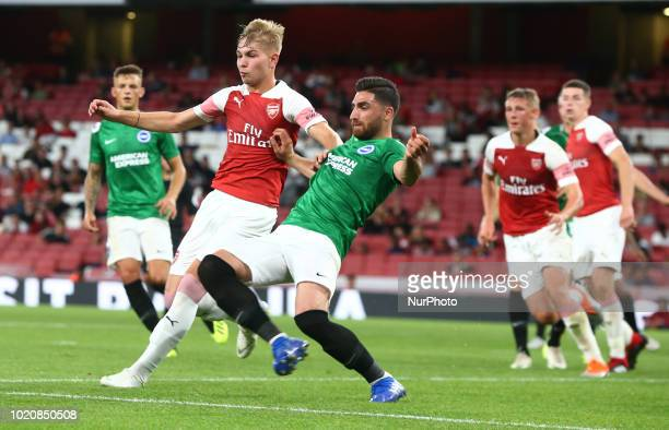 LR Emile SmithRowe of Arsenal and Alireza Jahanbakhsh of Brighton amp Hove Albion FC during Premier League 2 match between Arsenal Under 23s and...