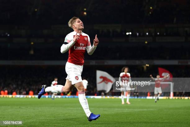 Emile SmithRowe of Arsenal celebrates after scoring his team's second goal during the Carabao Cup Fourth Round match between Arsenal and Blackpool at...