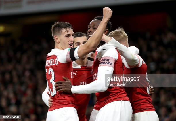 Emile SmithRowe of Arsenal celebrates with teammates after scoring his team's second goal during the Carabao Cup Fourth Round match between Arsenal...