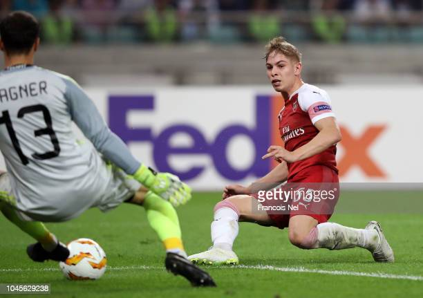 Emile SmithRowe of Arsenal scores his team's second goal during the UEFA Europa League Group E match between Qarabag FK and Arsenal at on October 4...