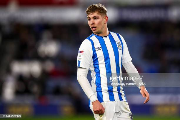 Emile SmithRowe of Huddersfield Town during the Sky Bet Championship match between Huddersfield Town and Cardiff City at John Smith's Stadium on...