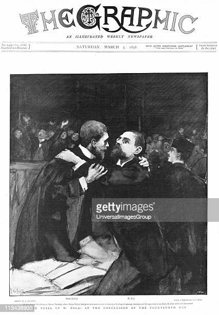 Emile Zola French novelist on trial for defamation of French military authorities for writing letter to the press referring to the Esterhazy court...