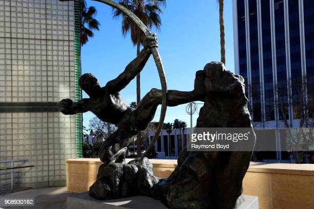 EmileAntoine Bourdelle's 'Herakles The Archer' sculpture sits inside the B Gerald Cantor Sculpture Garden in Los Angeles California on January 13...