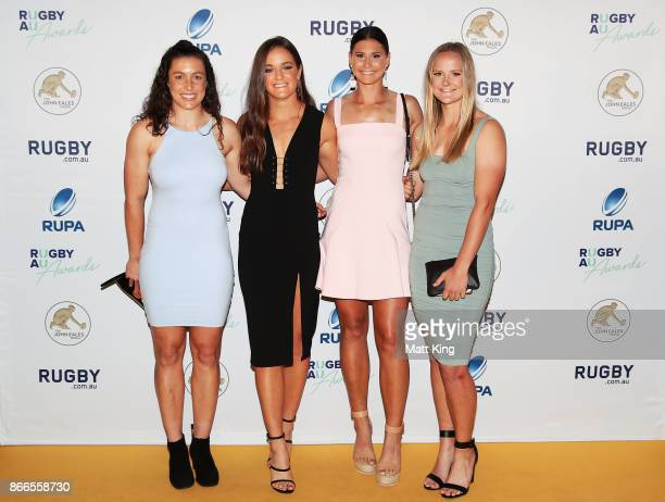 Emilee Cherry Dominique Du Toit Demi Hayes and Emma Sykes arrive ahead of the 2017 Rugby Australia Awards at Royal Randwick Racecourse on October 26...