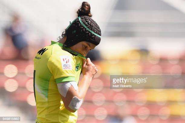 Emilee Cherry of Australia looks dejected during the Cup semifinal between New Zealand and Australia on day two of the HSBC Women's Rugby Sevens...