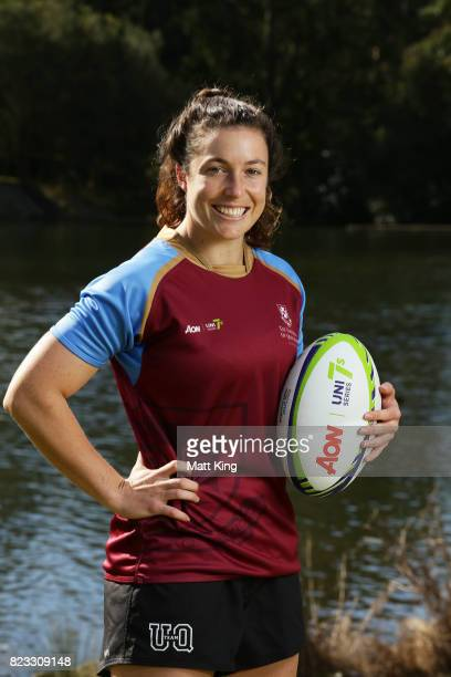 Emilee Cherry of the University of Queensland poses during the AON Women's University Sevens Launch at Macquarie Uni on July 27 2017 in Sydney...